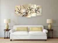 Модульная-картина-белые-цветы-магнолии-абстракция-фото-в-интерьере-гостиной